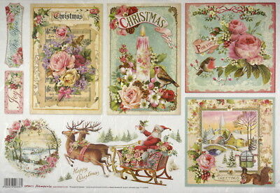 Rice Paper - 33x49cm - Sheet Pink Christmas - for Decoupage Craft