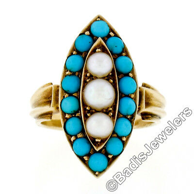 Antique Victorian 18K Yellow Gold Natural Turquoise Pearl Marquise Navette Ring