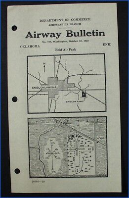 AIRWAY BULLETIN No. 799 ENID AIR PARK, ENID, OKLAHOMA, 1929, DEPT. OF COMMERCE