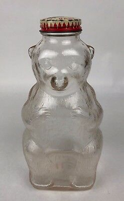 Vintage Snow Crest Beverages Glass Figure Bear Bank Bottle Salem Mass. with Lid