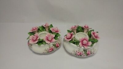 Very Rare PAIR Of Royal Albert Lavender Rose Figural Candle Holders / Sticks