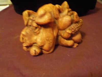Cute Fat Pigs Eating Ear Of Corn Figure Made Of Resin No Brand