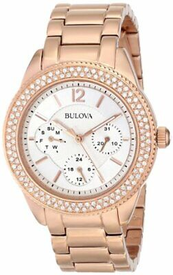 Bulova 97N101 Women's Crystal Accented Rose Gold Tone Multifunction Watch