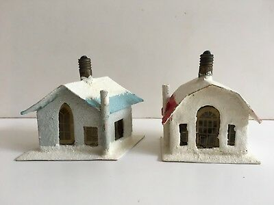 RARE Vintage Christmas CARDBOARD HOUSE LIGHTS - JAPAN 1930's - TESTED & WORKING!
