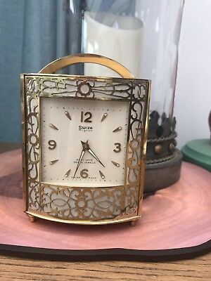 Vintage Swiza Two Faced Mantle Clock 8 Day Rare Collectable Brass?