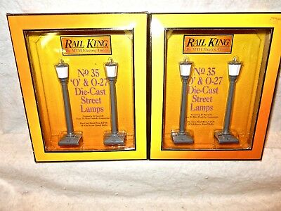 MTH Rail King  Two Sets of #1058 Street Lamps-#35-Die-Cast-30's Era Styling-New