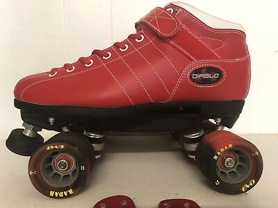 Riedell Roller Derby Skates Diablo Red & White - Like New Condition Size10 Women
