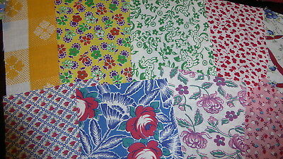 "Lot of 15 Vintage Feedsack Pcs. 4""-6""++Squares Quilt top blocks cotton fabric"