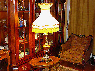 "Impressing Italian Vintage Lamp 45""/h, Bronze, Glass, Marble, wSilk Vict. Shade"