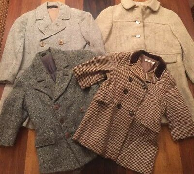 Vintage 1950s Childs Wool Coat Lot of 4 Film Stage Theater Costume Scrap AS