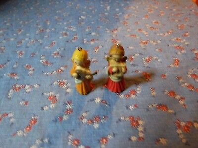 Two Ferrandiz Miniature Angel Ornaments  About 1 1/2 Inch High
