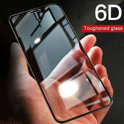 6D Curved Full Coverage Tempered Glass Screen Protector For iPhone X 8 7 Plus XR