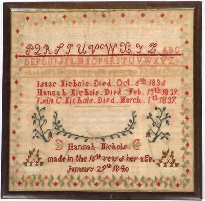 Antique AMERICAN SAMPLER, Hannah NICHOLS 1840
