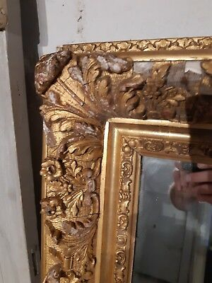 Late 19th Century Ornate French Gilt-wood Mirror 42 x 33 inches