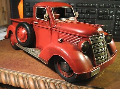 """Large Vintage Style Red Metal Hand Painted Truck 13"""" Farm Ford Chevrolet Ram Gmc"""