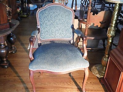 Antique French Style Mahogany Carved Arm Chair Tapestry Aqua Velvet Fabric