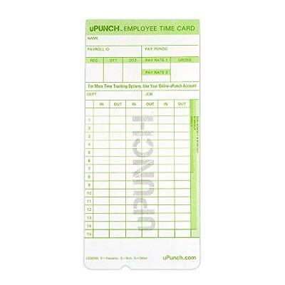 uPunch 300 Time Cards for Green HN3000 AutoAlign Time Clocks (HNTCG1300)