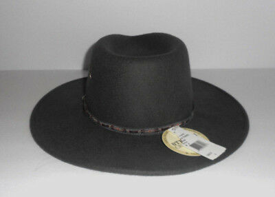 6efdbb40b77a2 Stetson Elk Horn Crushable Pinch Front Wool Western Hat Size M. USA MADE NWT