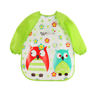 Baby Toddler Kids Waterproof Long Sleeve Bibs Apron Art Paint Feeding Smock -AN5