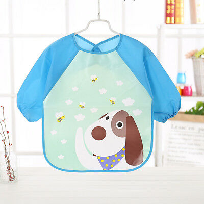 Fashion Toddler Baby Waterproof Long Sleeve Bibs Kids Feeding Smock Apron -BM62