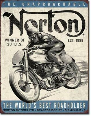 Norton Unapproachable Motorcycles Roadholder Rustic Nostalgic Tin Metal Sign