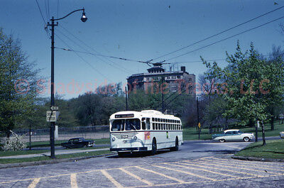 Cleveland Transit System Electric Trolley Coach 1305 Orig Slide CTS Tram E 105th
