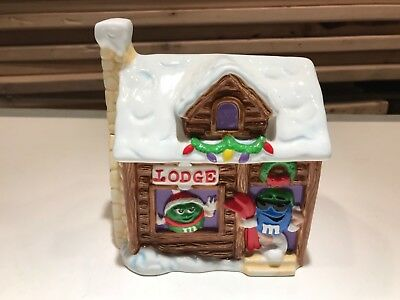 M&M's Ski Snow Log Cabin Candy Cookie Jar by Galerie