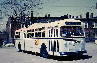 Cleveland Transit System Electric Trolley Coach 1305 Orig Slide CTS Woodhill