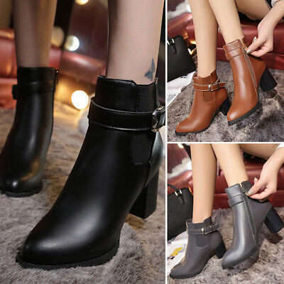 Elegant Women's Winter Mid Heel Belt Buckle Ankle Short Martin Boots Shoes Size