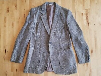 Barrage Tweed Gray Men's Sports Coat Blazer Elbow Patches Sz 40R