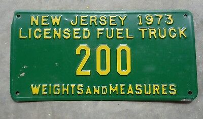New Jersey 1973 Licensed Fuel Truck license plate # 200