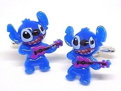 Handmade Disney Stitch Resin Cufflinks Silver Plated Toggles, Gift Boxed!
