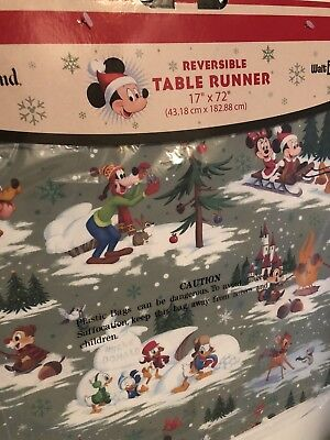 Disney Parks Christmas Reversible Table Runner Mickey Minnie Goofy Bambi Cute!!