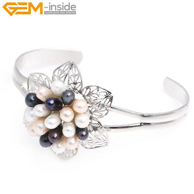 30x48mm Flower Freshwater Pearls Jewelry Cuff Bracelet Adjustable Christmas Gift