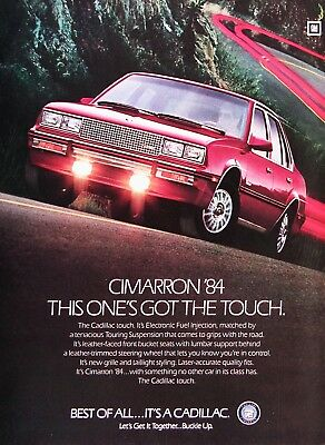 1984 CADILLAC CIMARRON Genuine Vintage Advertisement ~ The CADILLAC Touch