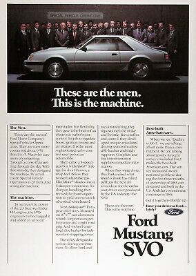 1984 FORD MUSTANG SVO Genuine Vintage Advertisement ~ Authentic Color Ad