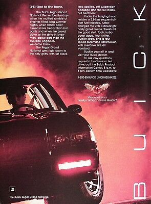 1985 BUICK REGAL GRAND NATIONAL Genuine Advertisement ~ B-B-BAD to the Bone