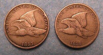 2 Piece 1857 & 1858 SL FLYING EAGLE PENNY US COIN LOT VG+-FINE+