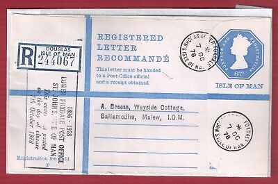 Isle Of Man Registered Letter Lower Foxdale Post Office Last Day - 7Th Oct 1978
