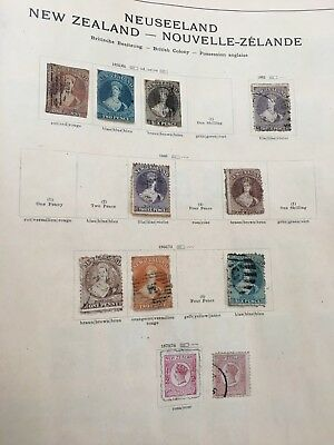 NEW ZEALAND RARE STAMPS 3 PAGES FROM OLD VALUABLE ALBUM SENF's  1855- UNCHECKED