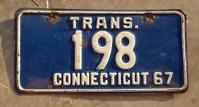 Conecticut 1967 Trans.  license plate #  198