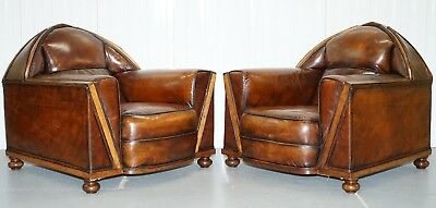 Pair Of Lovely Restored Gothic Steeple Back Pugin Style Brown Leather Armchairs
