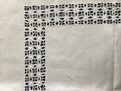 """Vintage 1940 Tablecloth Hand Embroidered Drawn Thread Work White Linen 43"""" X 40"""