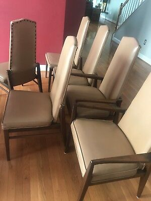 Mid-Century Modern Dining Chairs by Foster McDavid - Set of Six Walnut Tan Wow!