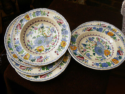 "MASON Ironstone China ""REGENCY"" C4475 – 6 rimmed soup plates 23 cms diameter"