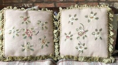 Pair Of Beautiful Timeworn Large Antique 18C Aubusson French Hand Woven Cushions