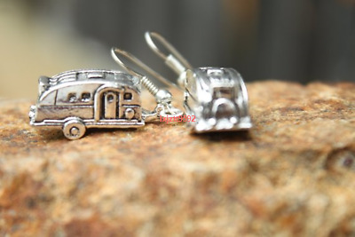 Vintage Camper Earrings, Antique Silver, Camping Dangle Earrings,Trailer Trash