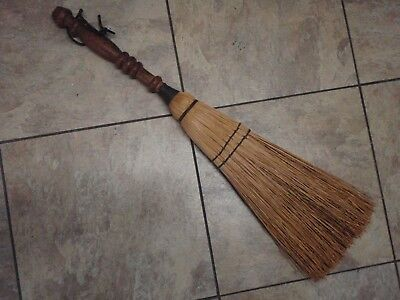 "Vintage Hearth Broom 24"" Maine Straw Antique Primitive Turned Wooden Handle NICE"