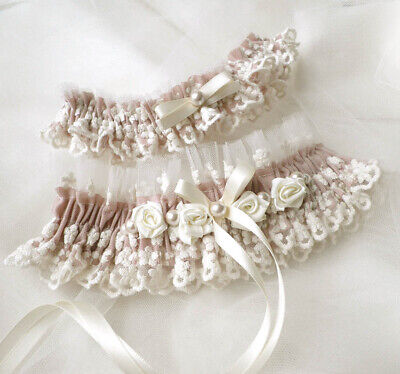 Set of Blush pink cream lace garters vintage style wedding personalized toss