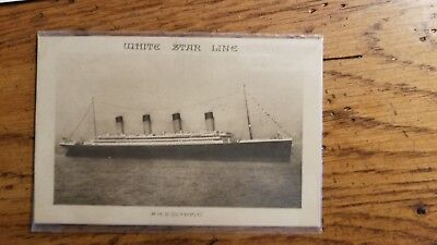 RMS White Star Line Olympic Abstract Log & Lusitania postcard